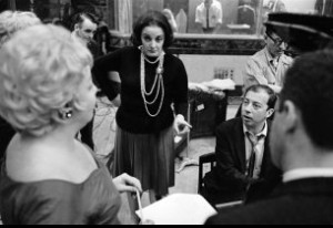 Carolyn Leigh and Cy Coleman at the Little Me cast album recording session, 1962